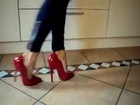 Walking in Red 6 Inch Pumps High Heels